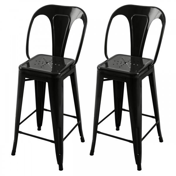 Chaise de bar H 66 cm en métal Atelier noir brillant (lot de 2)