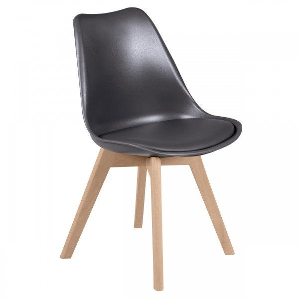 Chaise scandinave gris foncé (lot de 2)
