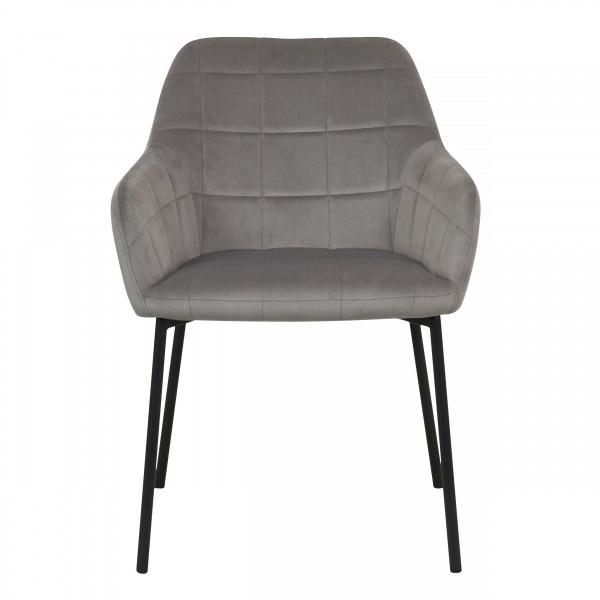 Chaise lucy en velours gris et pieds en métal noir (lot de 2)