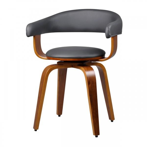 Chaise pivotante en PU gris et pieds en bois plaqué noyer