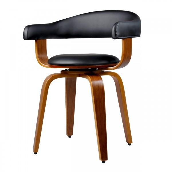 Chaise pivotante en PU noir et pieds en bois plaqué noyer