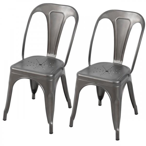 Chaise en métal Atelier gris acier (lot de 2)
