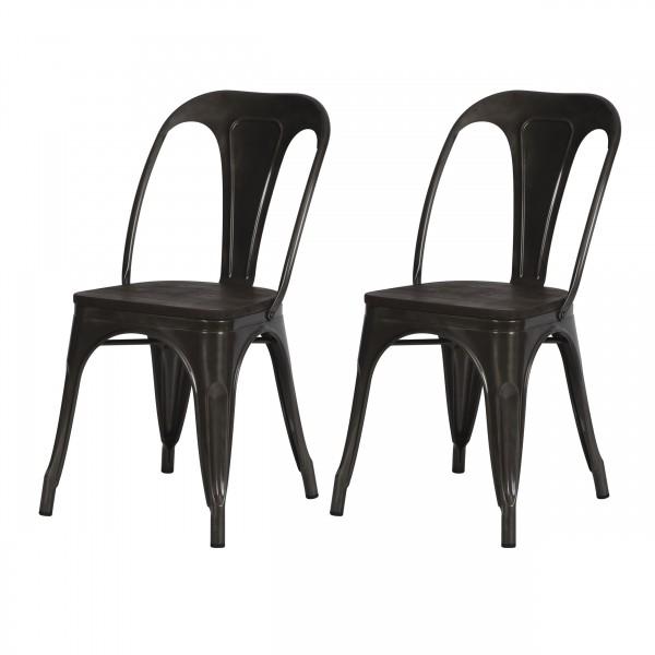 Chaise indus Addison en métal gris