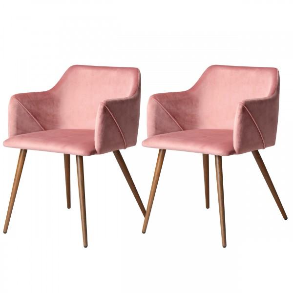 Chaise avec accoudoirs en velours rose