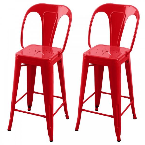 Chaise de bar H 66 cm en métal Atelier rouge brillant (lot de 2)