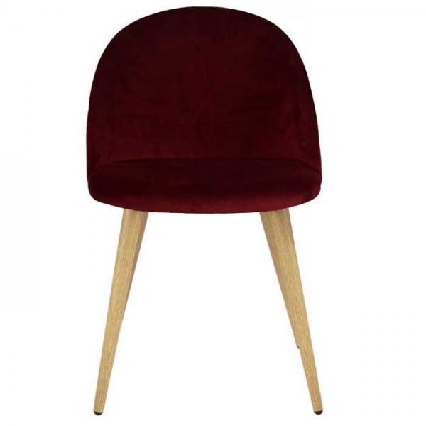 Chaise ally scandinave en velours bordeaux et pieds en métal imitation bois (lot de 2)
