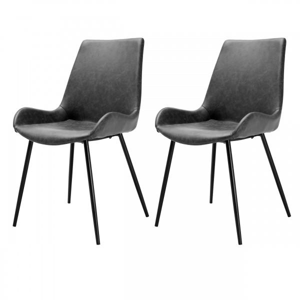 Chaise gris foncé en cuir synthétique (lot de 2)