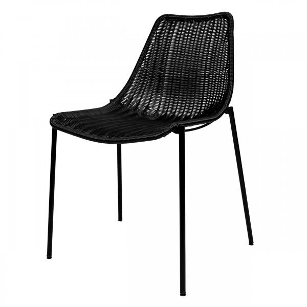 Chaise empilable en résine tressée noire (lot de 2) pour l'intérieur et l'extérieur