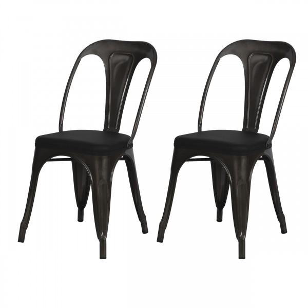 Chaise indus Connor en métal gris