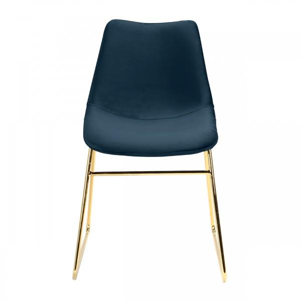 Chaise mona en velours bleu foncé pieds traîneaux dorés (lot de 2)