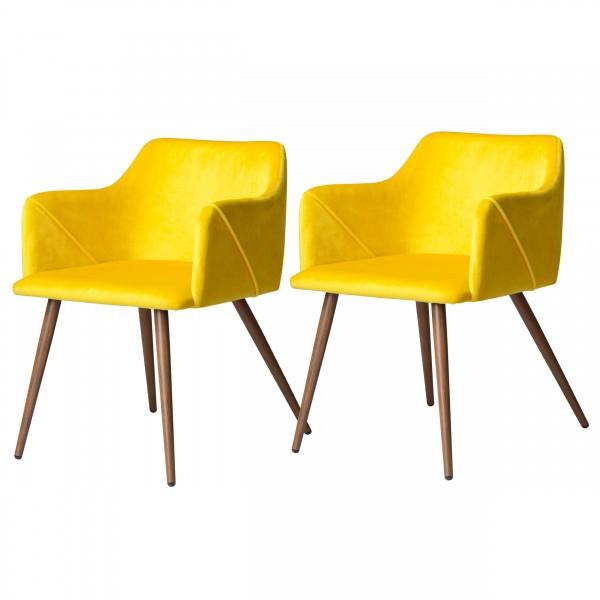 Chaise avec accoudoirs en velours jaune