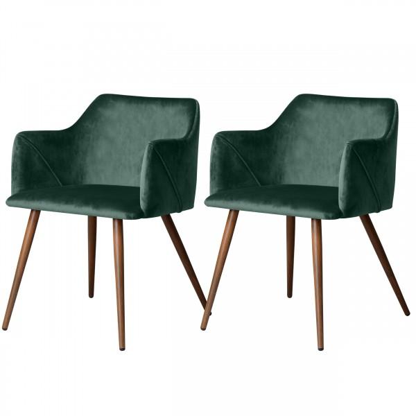 Chaise avec accoudoirs en velours vert