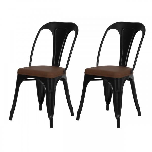 Chaise indus Connor en métal noir