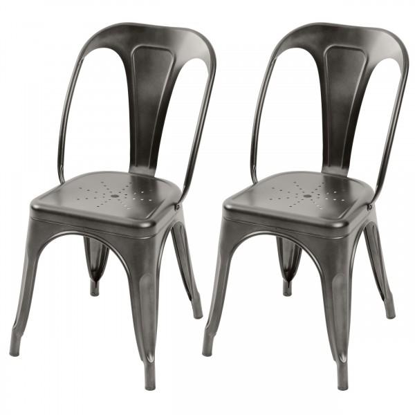 Chaise en métal Atelier gris anthracite (lot de 2)