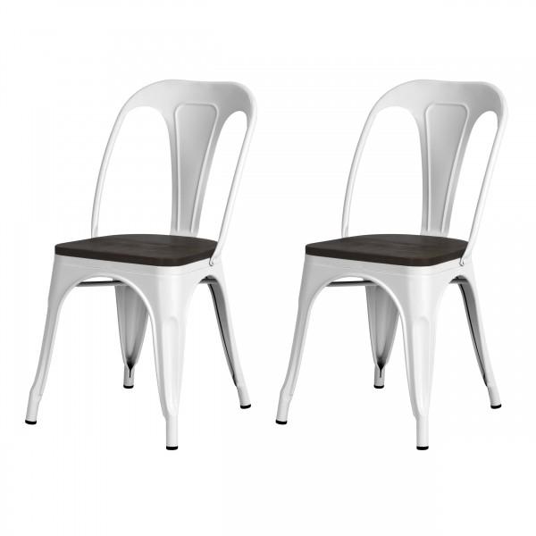 Chaise indus Addison en métal blanc