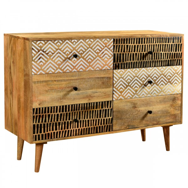 Commode Vinita en bois six tiroirs