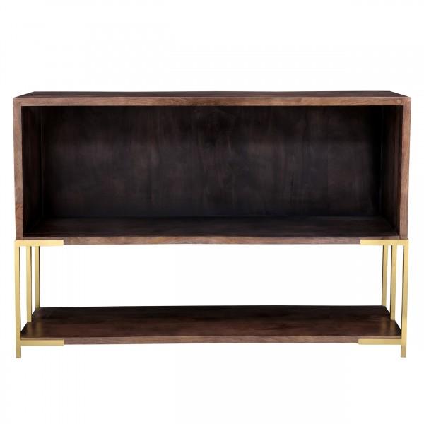 Console avec étagère basse en bois et métal