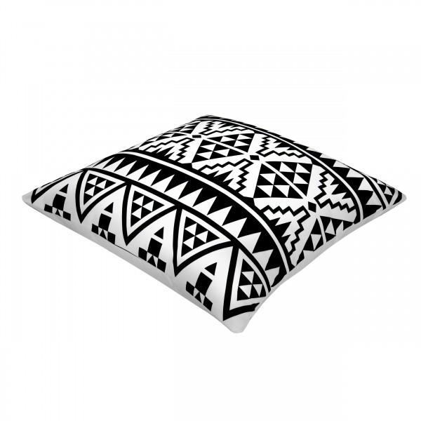 Coussin bicolore noir et blanc carré 45 x 45 cm