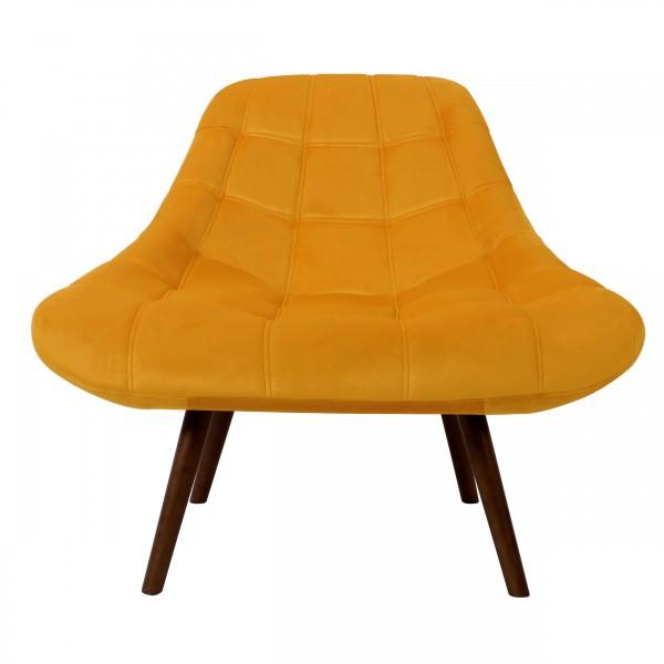 Fauteuil jonathan en velours jaune et pieds en bois foncé