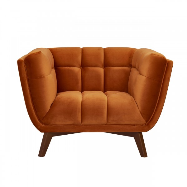 Fauteuil louisa capitonné en velours orange