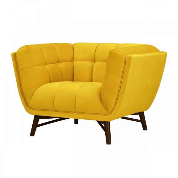 Fauteuil Kebon en velours jaune