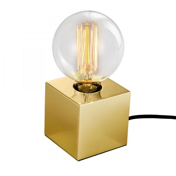 Lampe Kube métal finition laiton (avec ampoule)