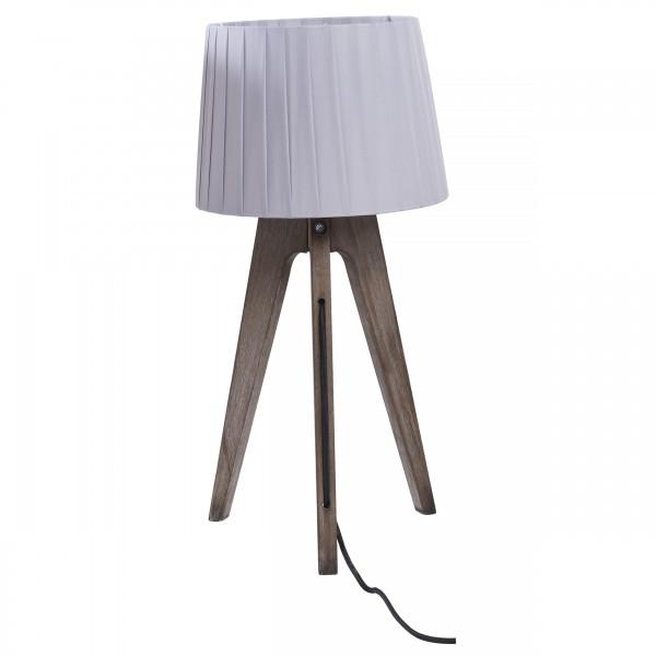 Lampe à poser bois foncé et abat-jour plissé