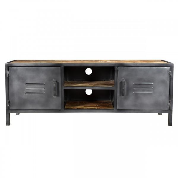 Meuble TV en bois recyclé et métal