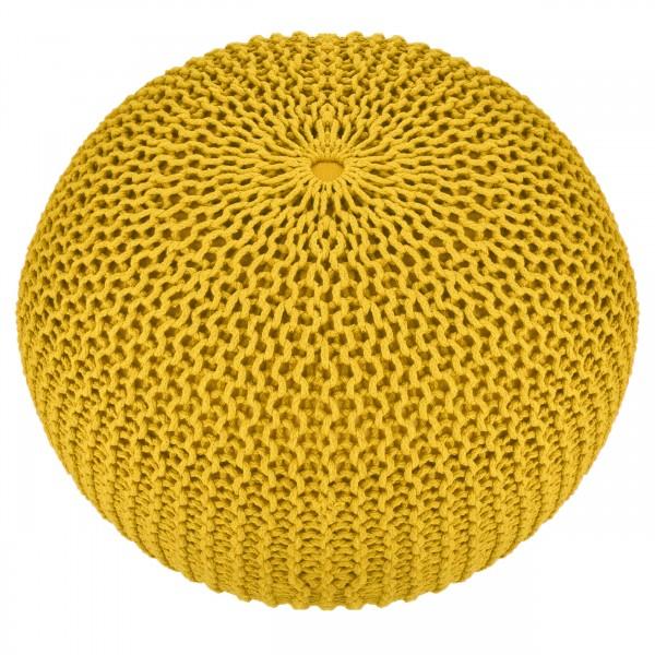 Pouf tricot Alice jaune 50cm
