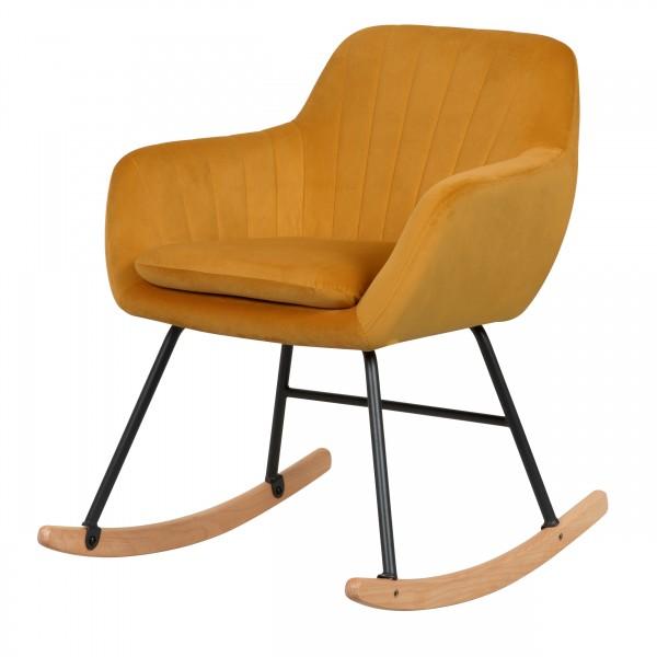 Rocking-chair jaune et pieds en métal et bois