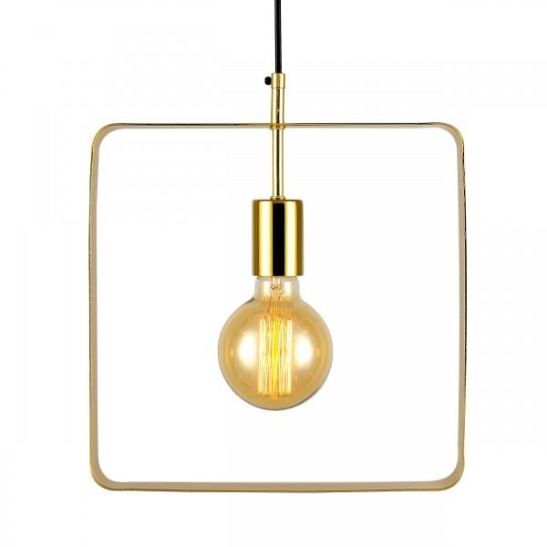 Suspension lisa carrée métal doré