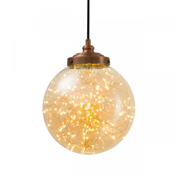 suspension emmy ronde en verre ambré D25cm