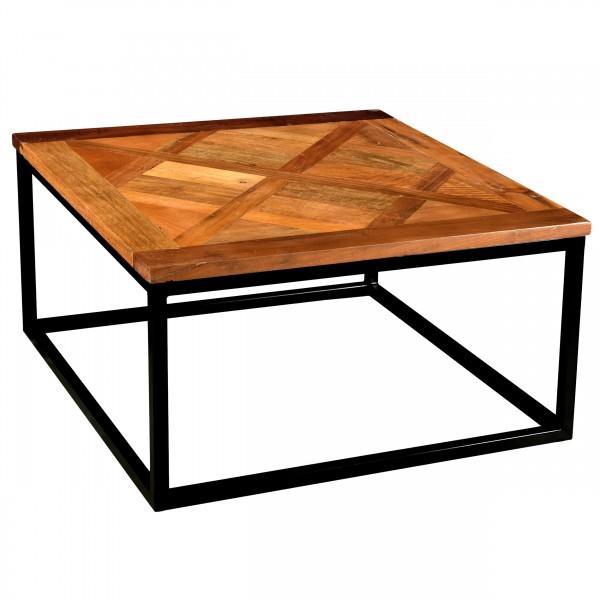 Table basse Kunal carré en bois recyclé