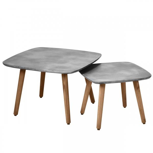 Table basse carrée en béton et bois d'acacia (lot de 2)