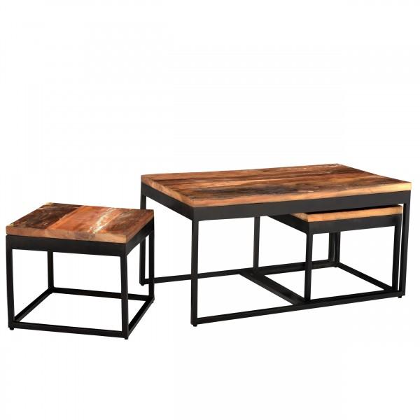 Table basse Vunipula gigogne en bois et métal (lot de 3)