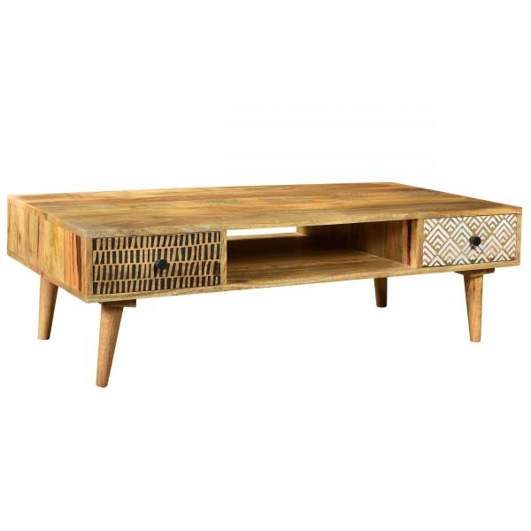 Table basse Aymar en bois deux tiroirs