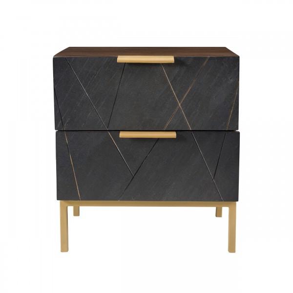 Table de chevet aya deux tiroirs en ardoise, métal et bois de manguier