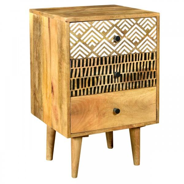 Table de chevet Lona  en bois trois tiroirs