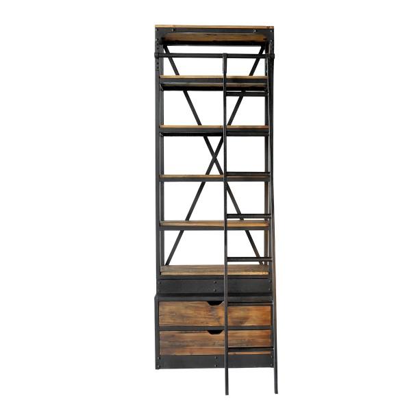 Bibliothèque 86 cm en bois recyclé et métal avec échelle