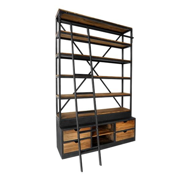 Bibliothèque 160 cm en bois recyclé et métal avec échelle