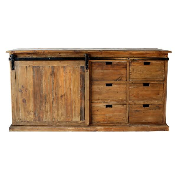 Buffet 6 tiroirs + porte coulissante en bois recyclé