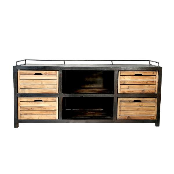 Buffet 4 tiroirs en bois recyclé et métal