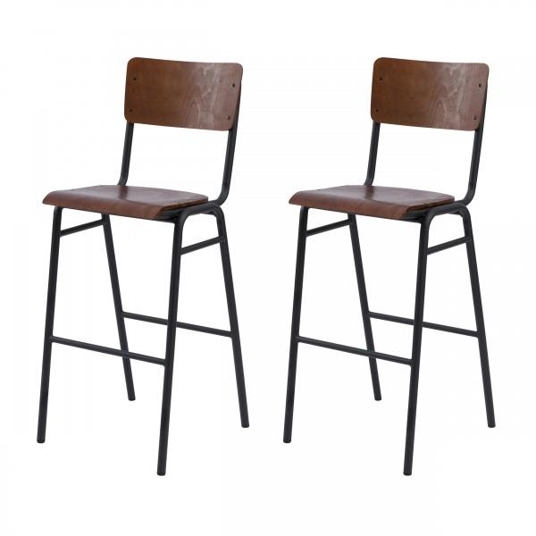 Chaise de bar Gorka en bois foncé
