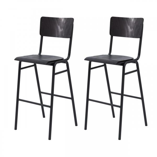 Chaise de bar Gorka en bois noir