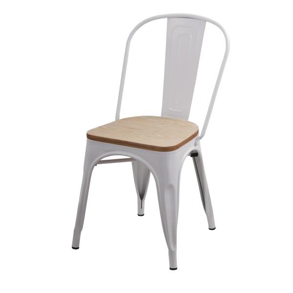 Chaise Factory blanche et bois (lot de 2)