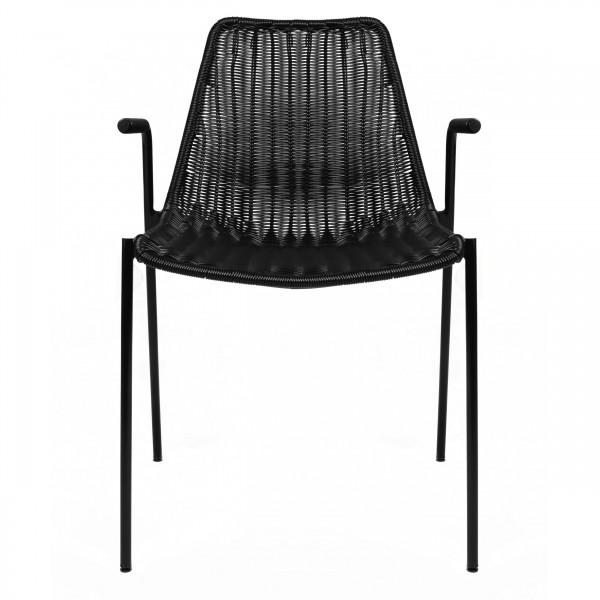 Chaise à accoudoirs en résine tressée noire (lot de 2 ) pour l'intérieur et l'extérieur