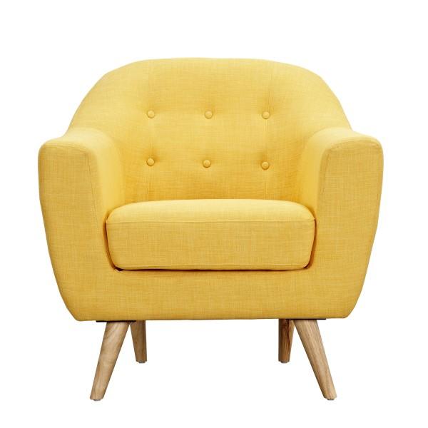 Fauteuil Vejen jaune boutons jaunes