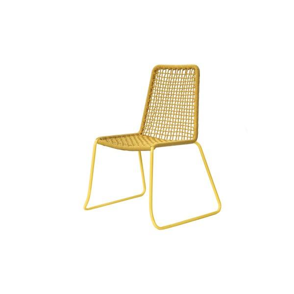 Chaise jaune corde tressée (lot de 2)
