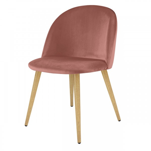 Chaise ally Scandinave en velours rose poudré (lot de 2)